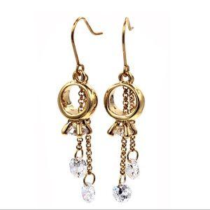 Gold  little pendant ring crystal earrings